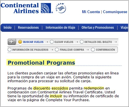 Continental Airlines Spanish page