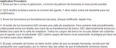 Screenshot from New Zealand College website's Spanish version