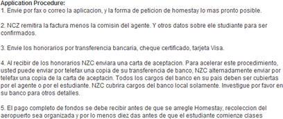 Screenshot from New Zealand College website's Spanish version