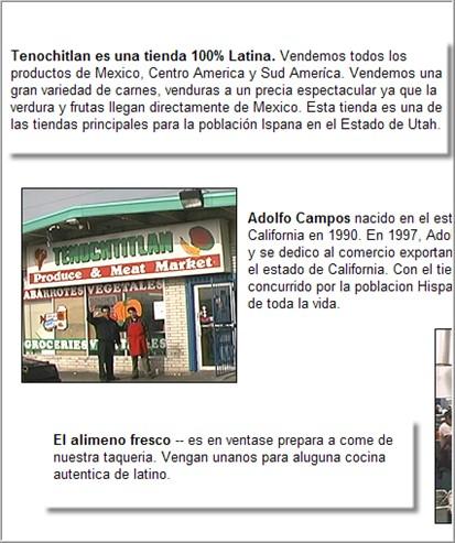 Tenochtitlan market's Spanish page